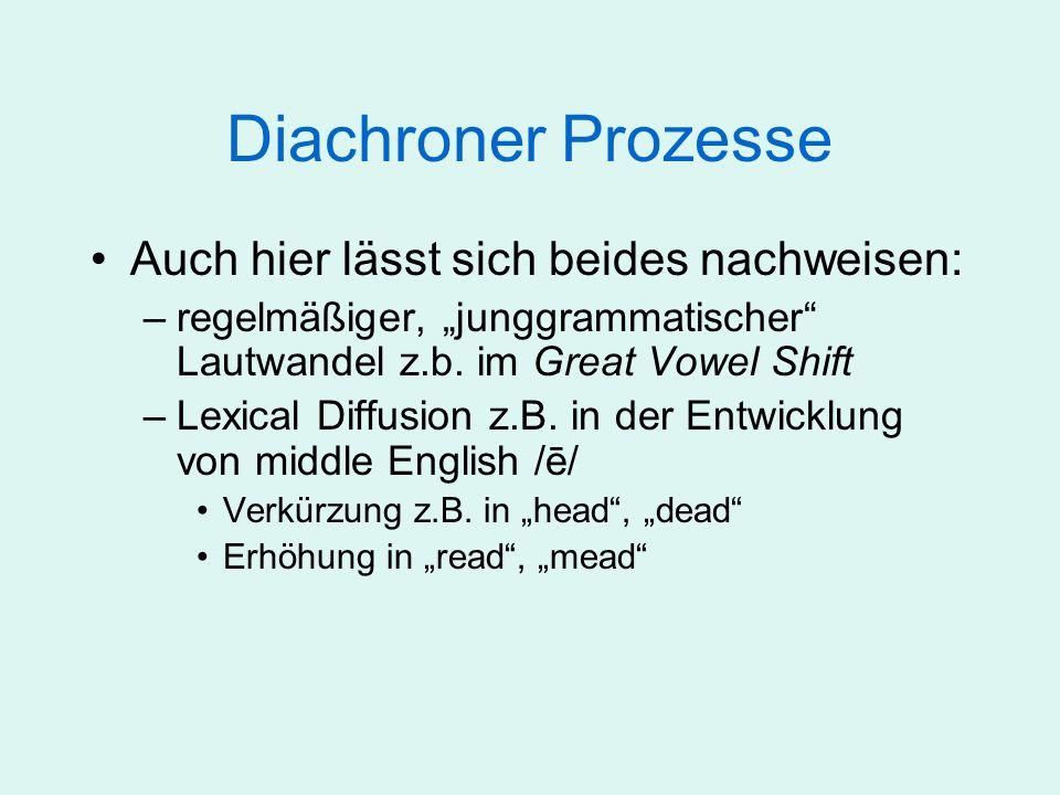 Diachroner Prozesse Auch hier lässt sich beides nachweisen: