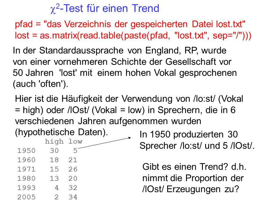 c2-Test für einen Trend pfad = das Verzeichnis der gespeicherten Datei lost.txt lost = as.matrix(read.table(paste(pfad, lost.txt , sep= / )))