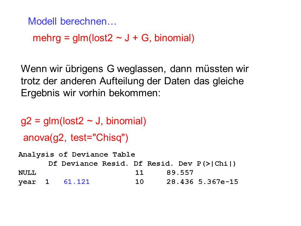 mehrg = glm(lost2 ~ J + G, binomial)