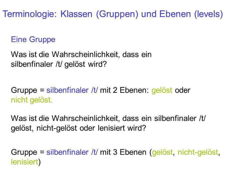 Terminologie: Klassen (Gruppen) und Ebenen (levels)