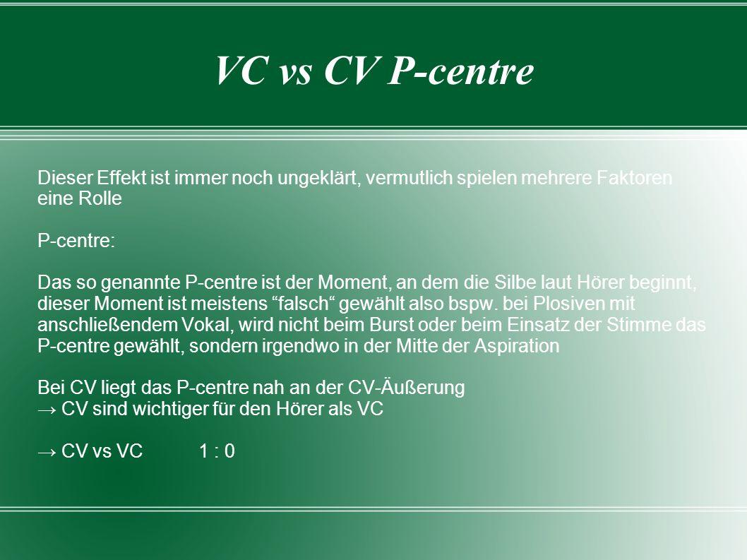 VC vs CV P-centre Dieser Effekt ist immer noch ungeklärt, vermutlich spielen mehrere Faktoren eine Rolle.