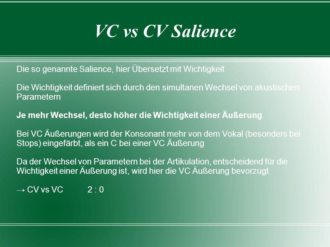 VC vs CV Salience Die so genannte Salience, hier Übersetzt mit Wichtigkeit.