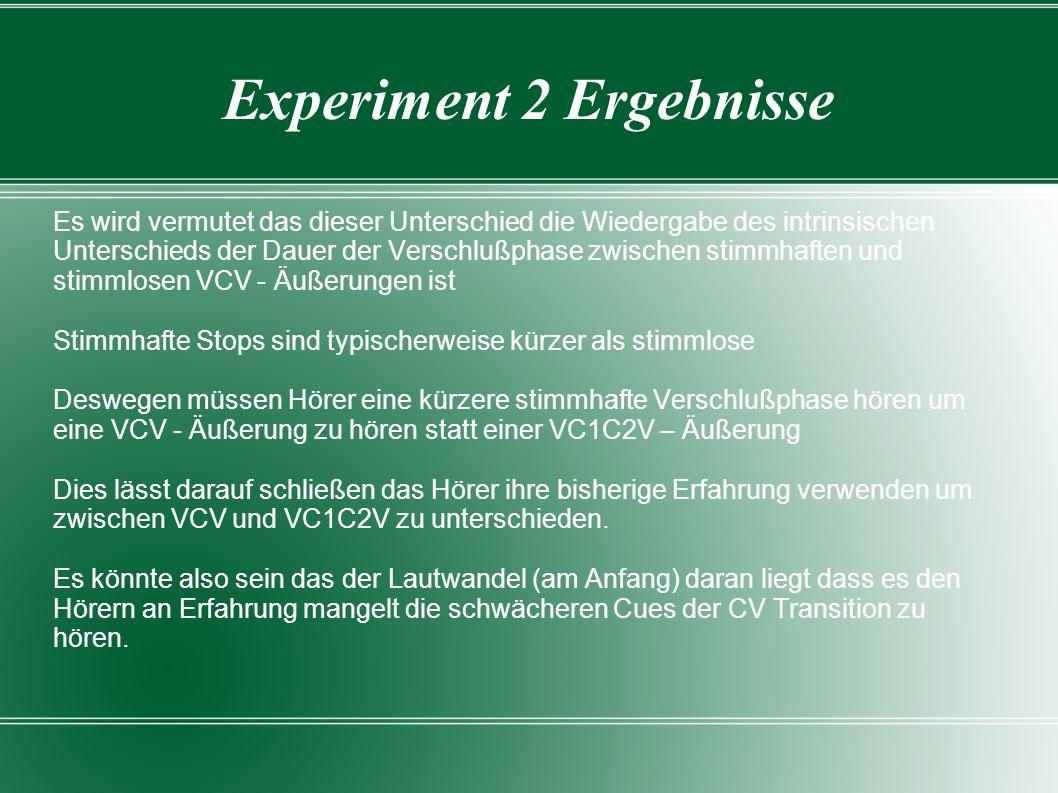 Experiment 2 Ergebnisse