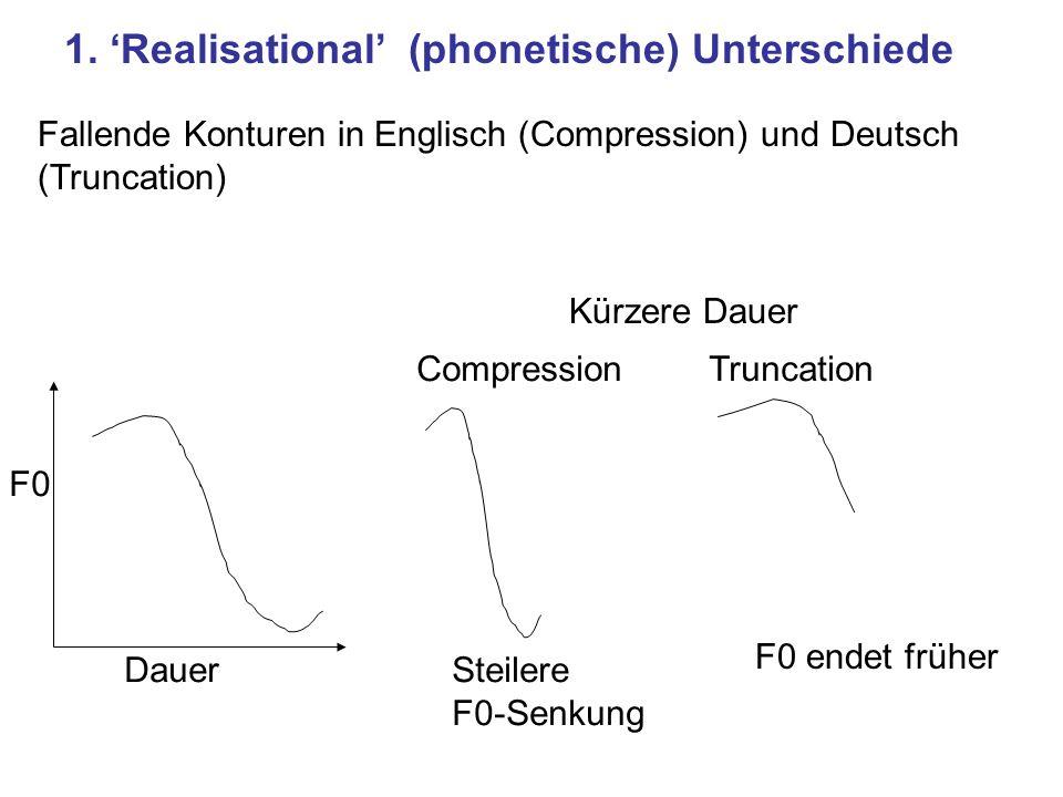 1. 'Realisational' (phonetische) Unterschiede