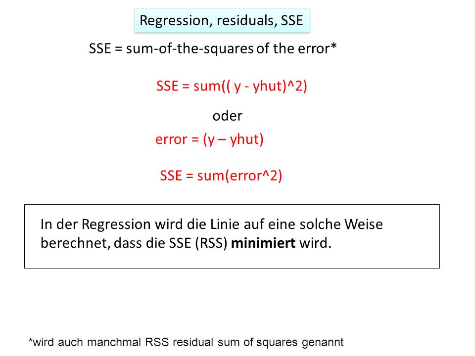 Regression, residuals, SSE
