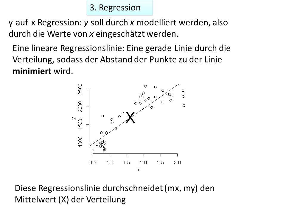 3. Regression y-auf-x Regression: y soll durch x modelliert werden, also durch die Werte von x eingeschätzt werden.