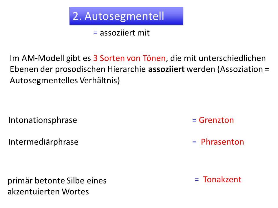 2. Autosegmentell = assoziiert mit