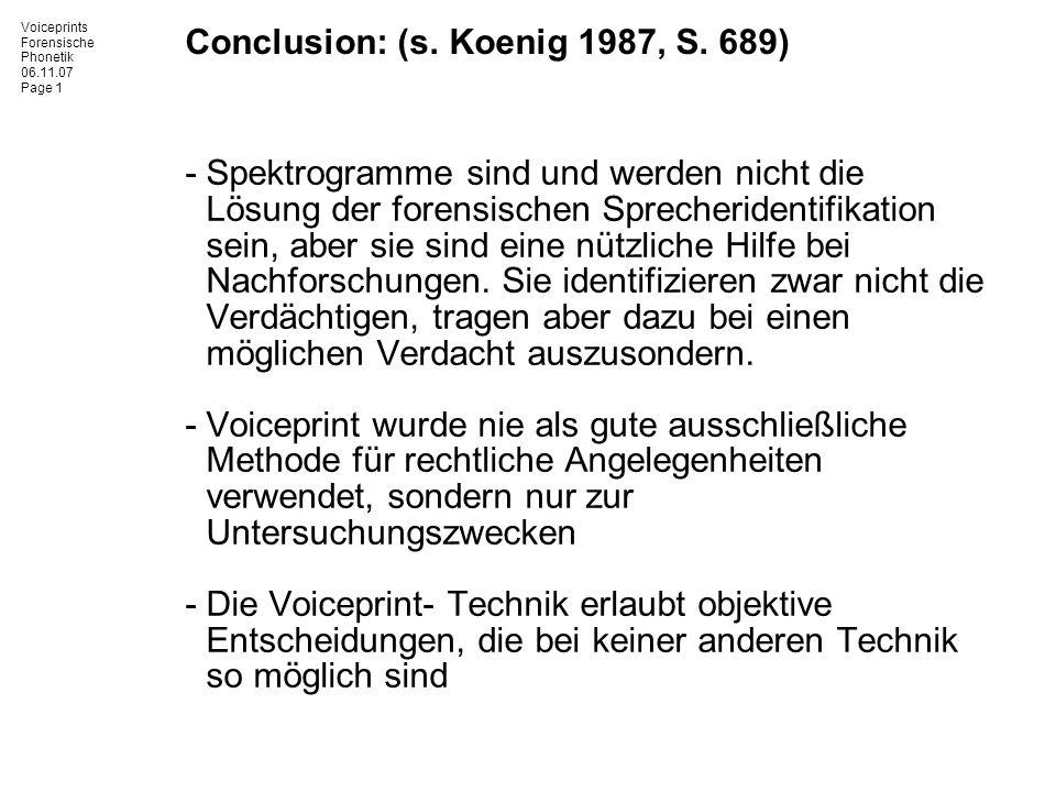 Conclusion: (s. Koenig 1987, S. 689)