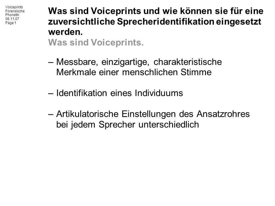 Was sind Voiceprints und wie können sie für eine zuversichtliche Sprecheridentifikation eingesetzt werden. Was sind Voiceprints.