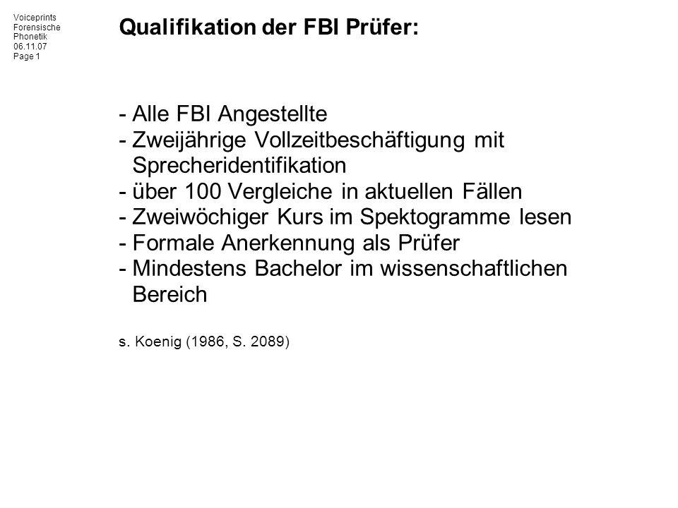 Qualifikation der FBI Prüfer: