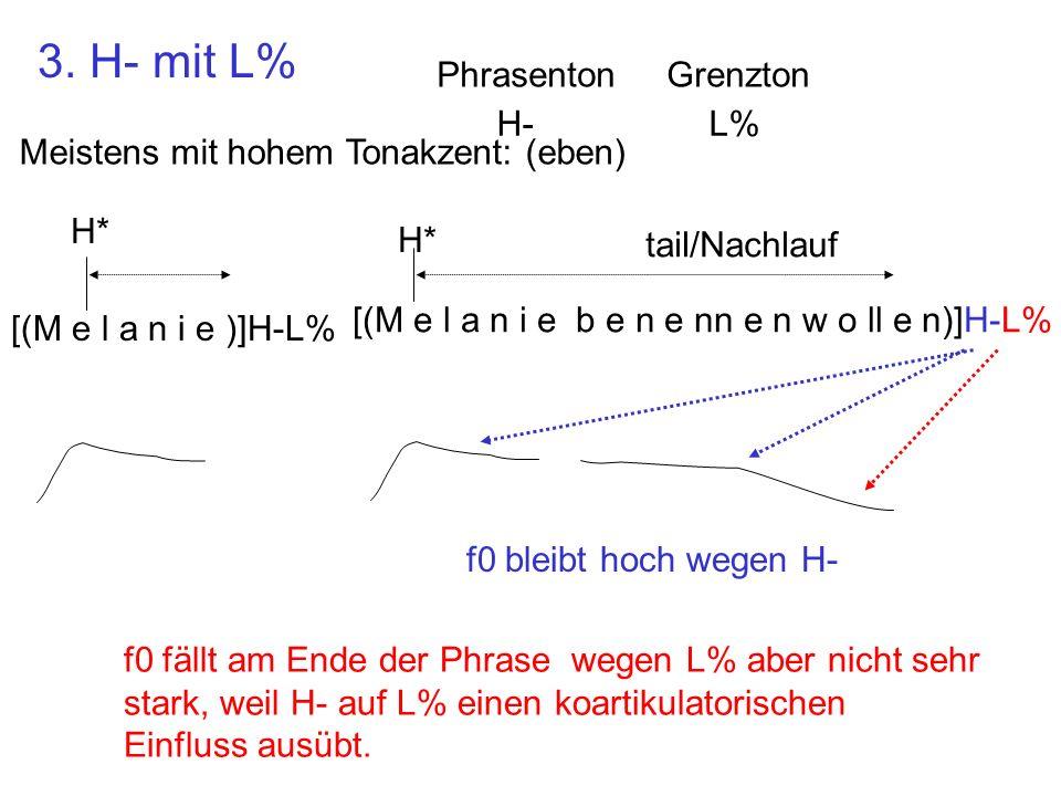 3. H- mit L% Phrasenton Grenzton H- L%