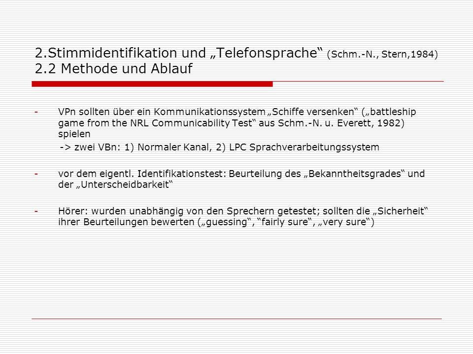 """2. Stimmidentifikation und """"Telefonsprache (Schm. -N. , Stern,1984) 2"""