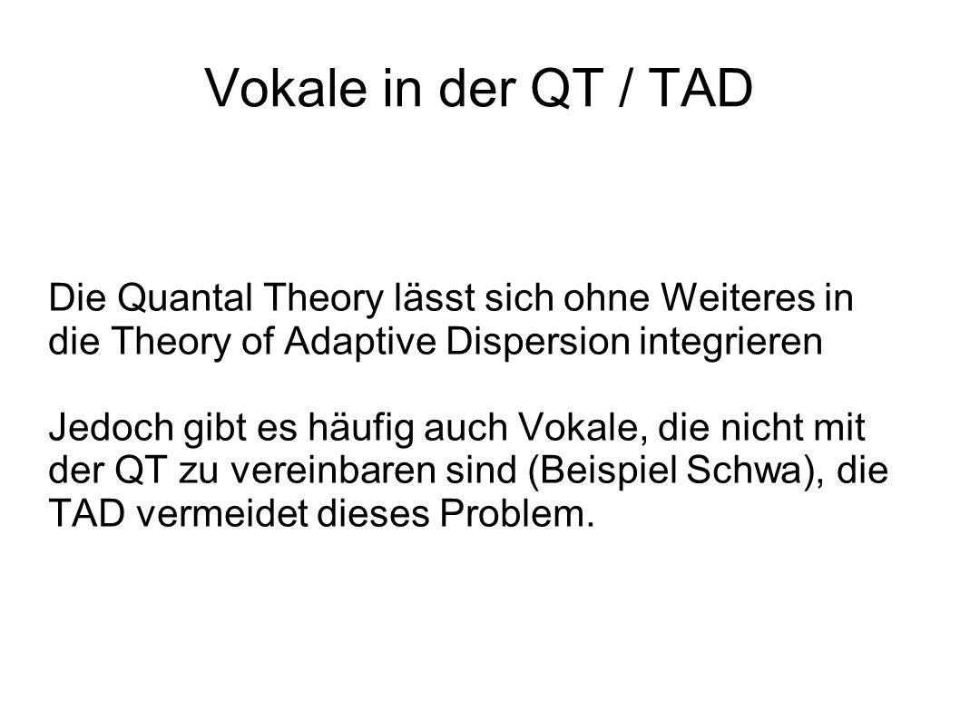 Vokale in der QT / TAD Die Quantal Theory lässt sich ohne Weiteres in die Theory of Adaptive Dispersion integrieren.