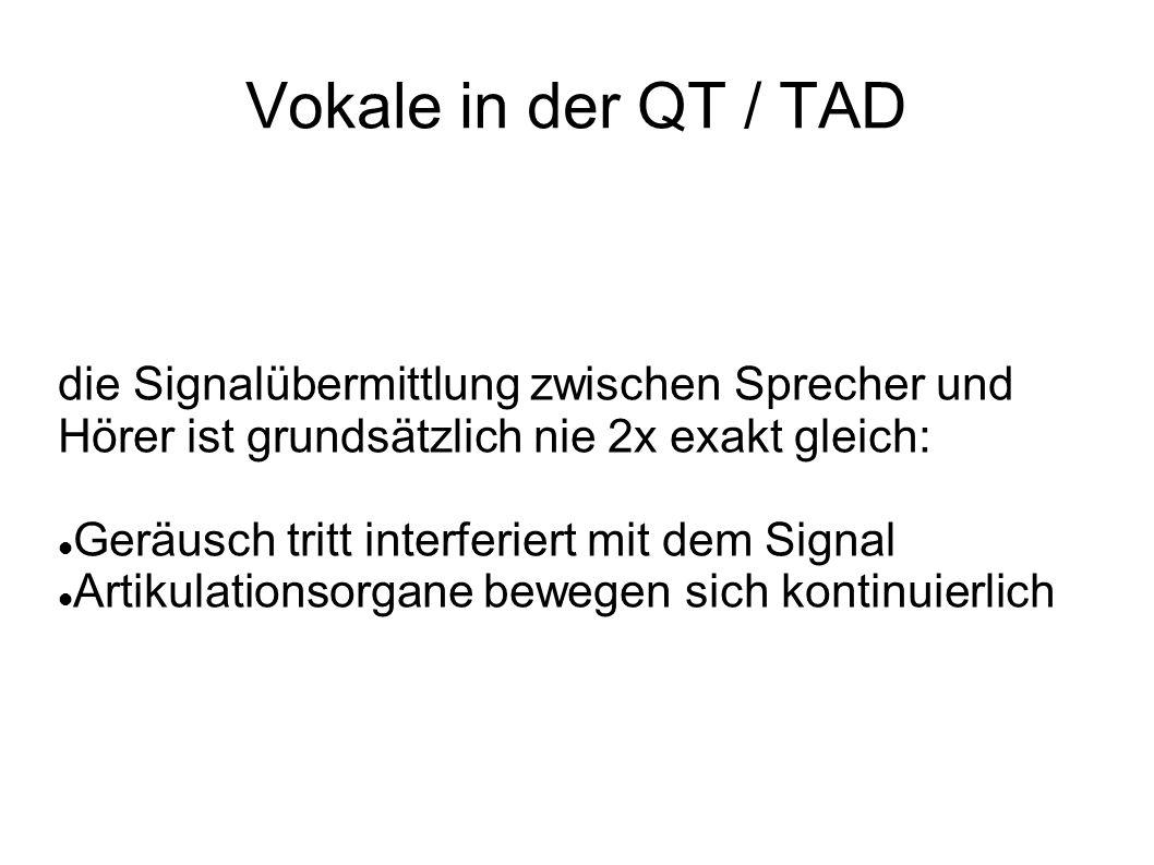 Vokale in der QT / TAD die Signalübermittlung zwischen Sprecher und Hörer ist grundsätzlich nie 2x exakt gleich: