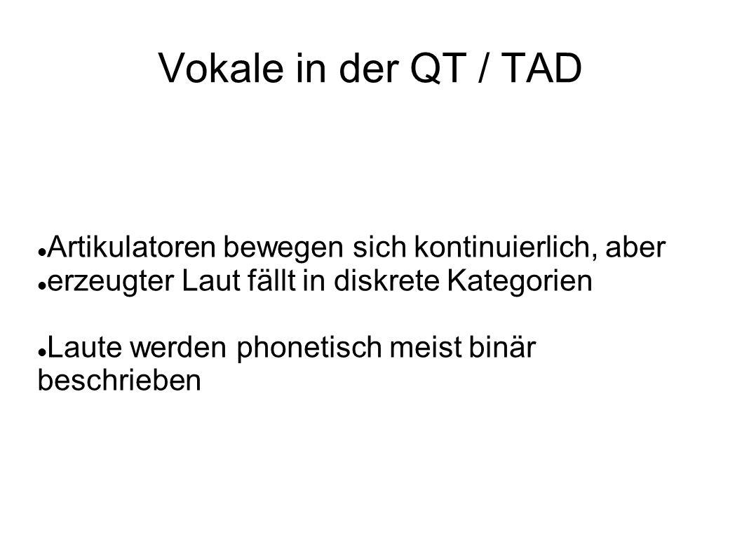 Vokale in der QT / TAD Artikulatoren bewegen sich kontinuierlich, aber