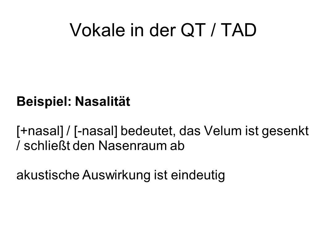 Vokale in der QT / TAD Beispiel: Nasalität