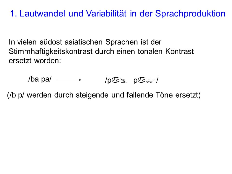 1. Lautwandel und Variabilität in der Sprachproduktion