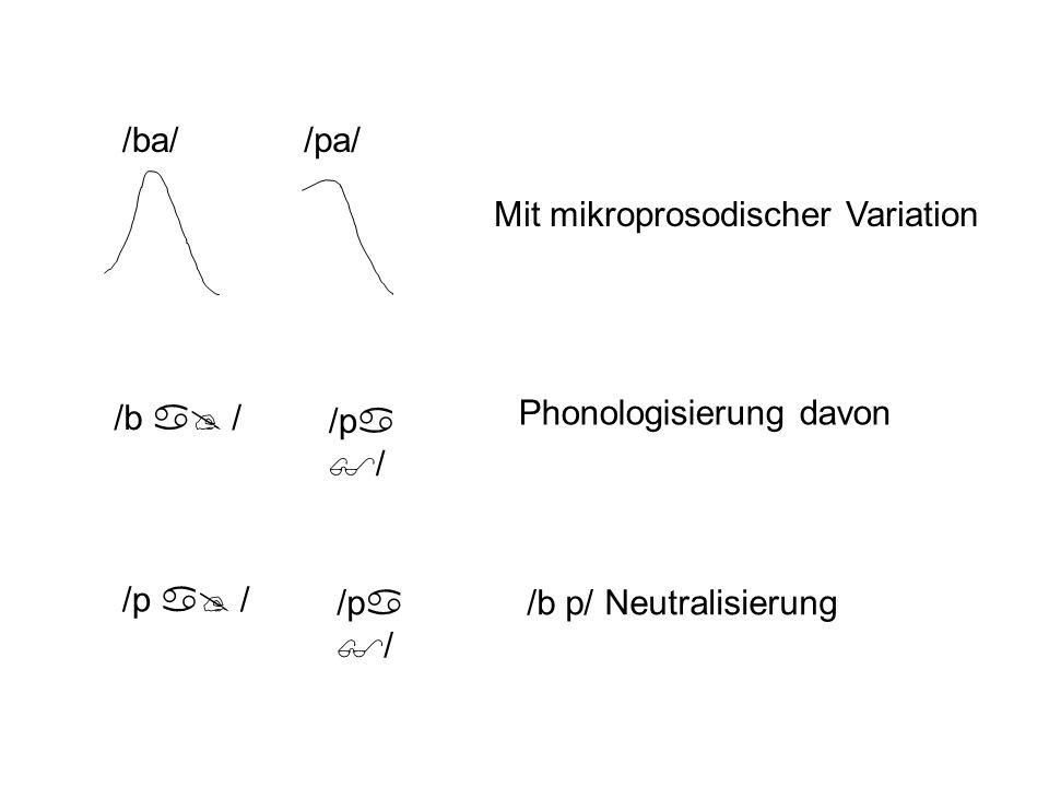 /ba/ /pa/ Mit mikroprosodischer Variation. /b a@ / /pa$/ Phonologisierung davon. /b p/ Neutralisierung.