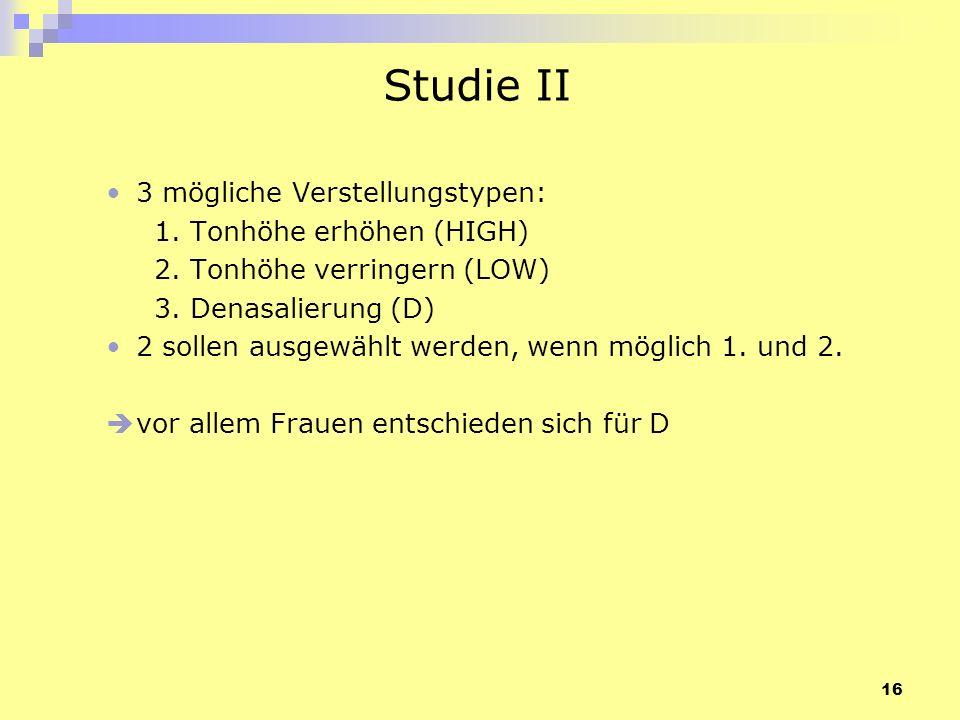 Studie II 3 mögliche Verstellungstypen: 1. Tonhöhe erhöhen (HIGH)