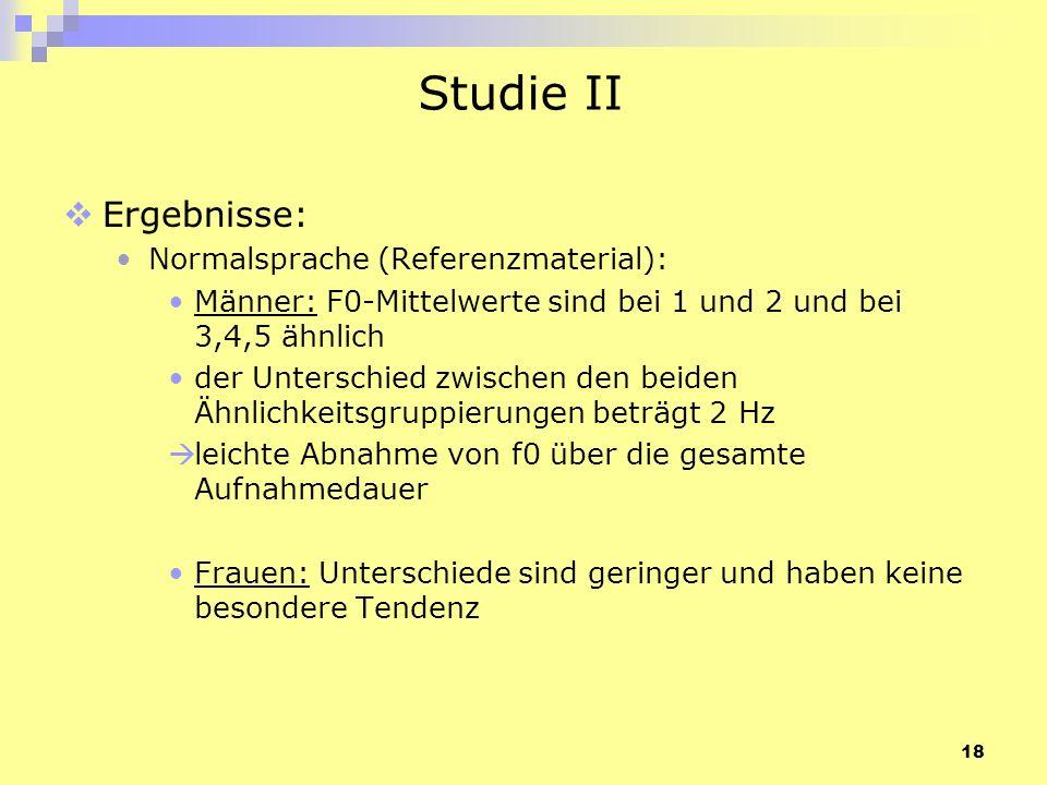 Studie II Ergebnisse: Normalsprache (Referenzmaterial):