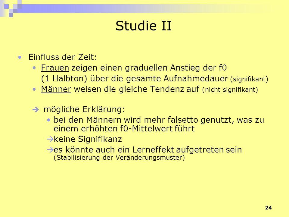 Studie II Einfluss der Zeit: