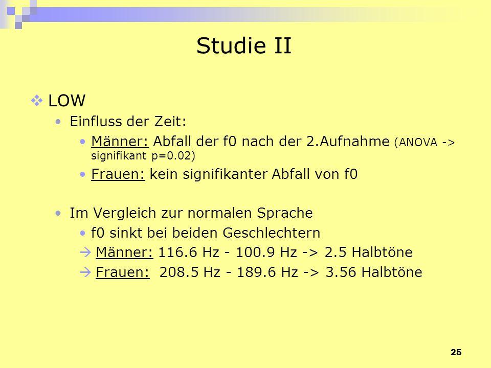 Studie II LOW Einfluss der Zeit: