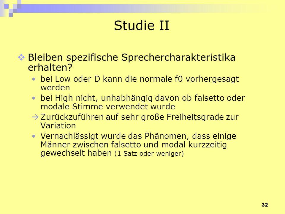 Studie II Bleiben spezifische Sprechercharakteristika erhalten