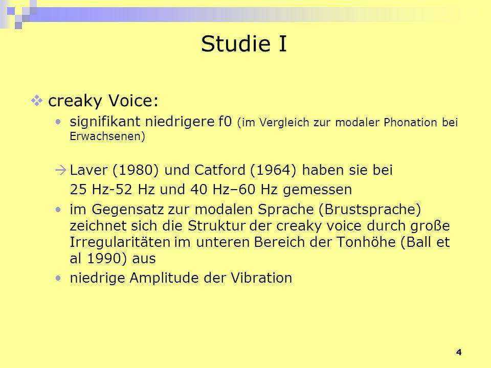 Studie I creaky Voice: signifikant niedrigere f0 (im Vergleich zur modaler Phonation bei Erwachsenen)