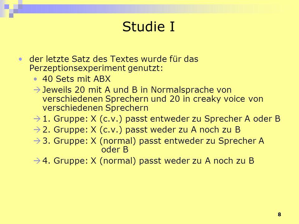 Studie I der letzte Satz des Textes wurde für das Perzeptionsexperiment genutzt: 40 Sets mit ABX.