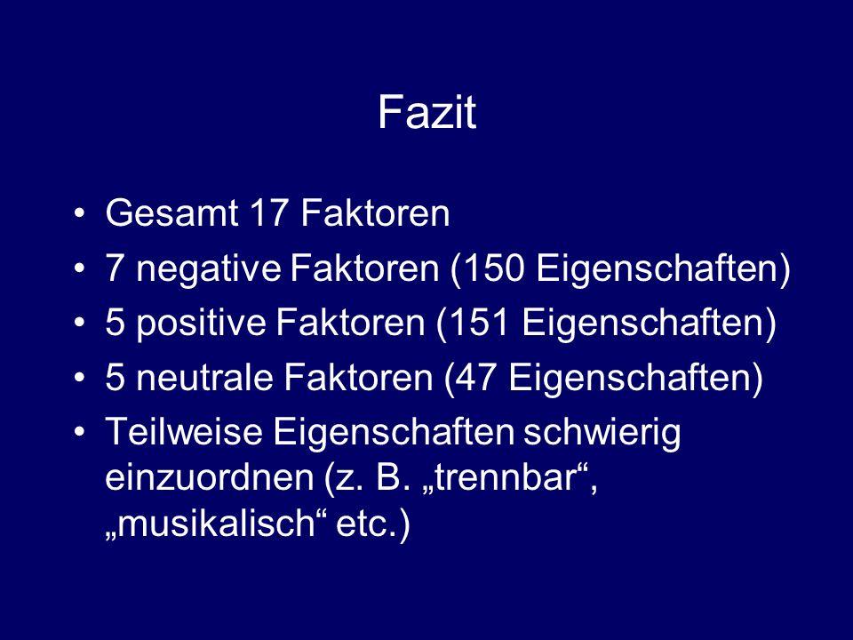 Fazit Gesamt 17 Faktoren 7 negative Faktoren (150 Eigenschaften)