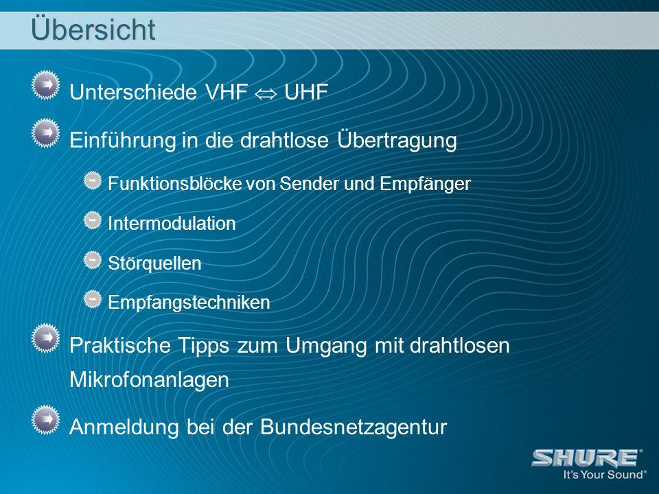 Übersicht Unterschiede VHF  UHF