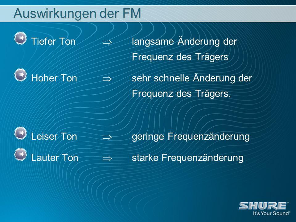 Auswirkungen der FM Tiefer Ton  langsame Änderung der Frequenz des Trägers.