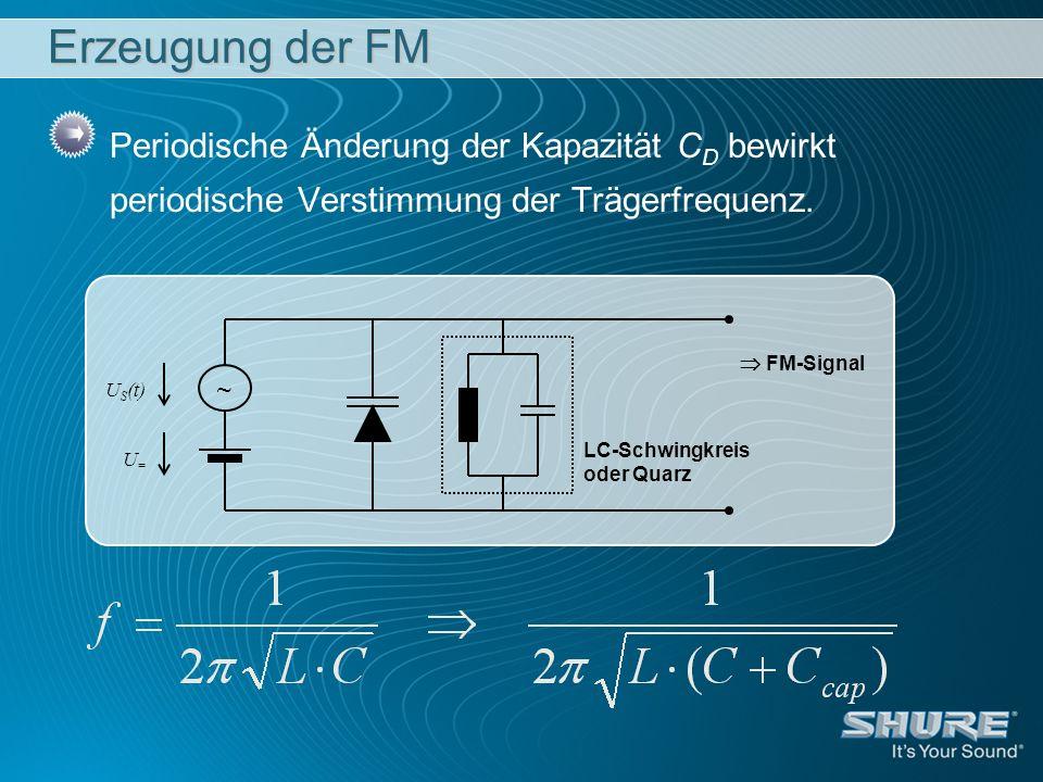 Erzeugung der FM Periodische Änderung der Kapazität CD bewirkt periodische Verstimmung der Trägerfrequenz.
