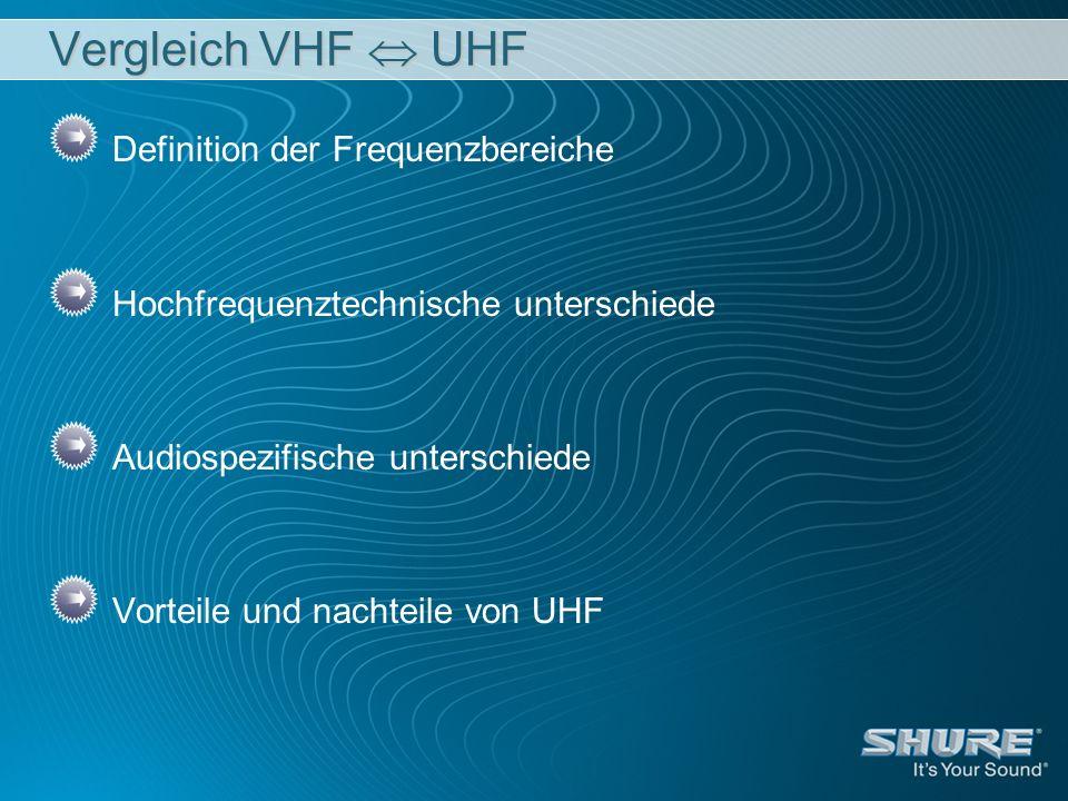 Vergleich VHF  UHF Definition der Frequenzbereiche
