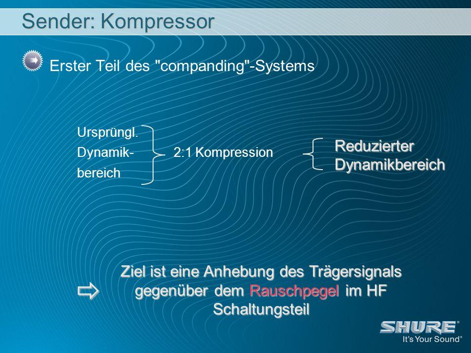  Sender: Kompressor Erster Teil des companding -Systems