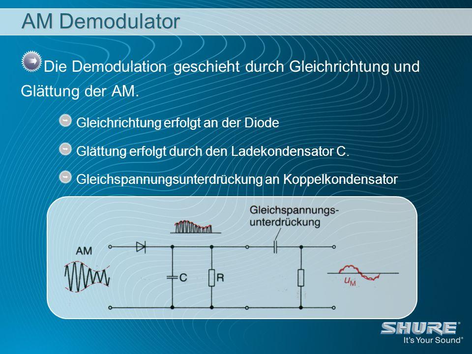 AM Demodulator Die Demodulation geschieht durch Gleichrichtung und Glättung der AM. Gleichrichtung erfolgt an der Diode.