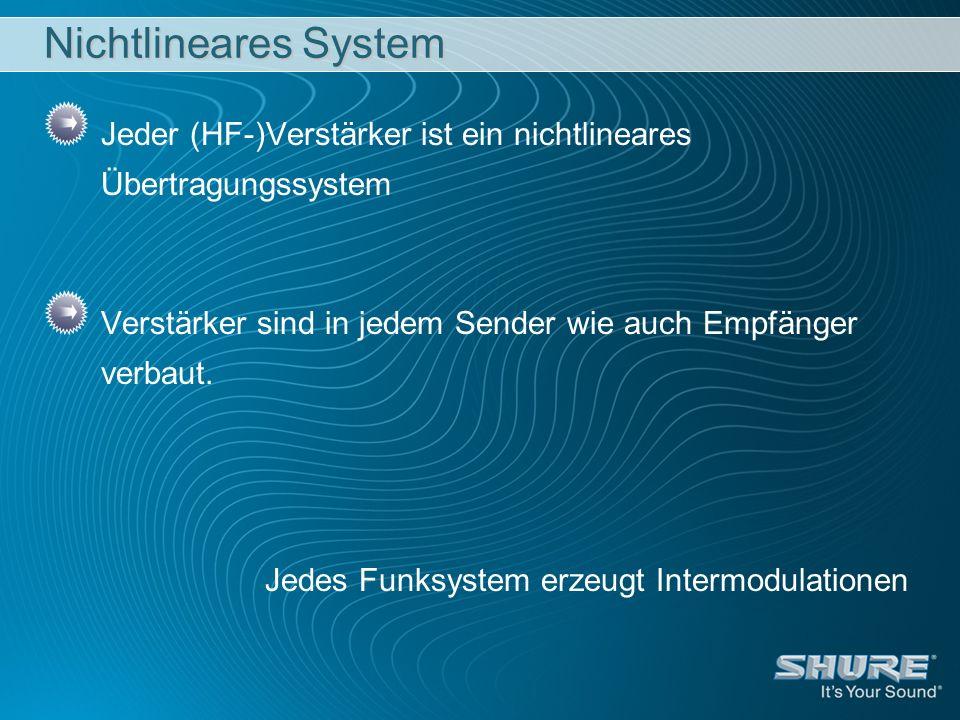 Nichtlineares System Jeder (HF-)Verstärker ist ein nichtlineares Übertragungssystem. Verstärker sind in jedem Sender wie auch Empfänger verbaut.