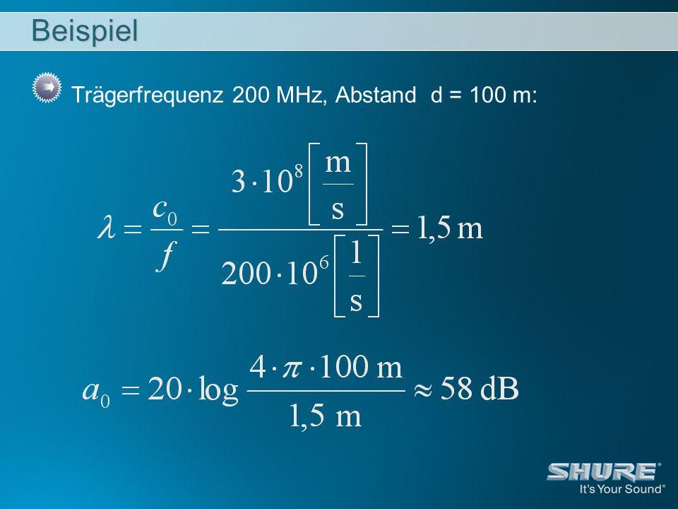 Beispiel Trägerfrequenz 200 MHz, Abstand d = 100 m:
