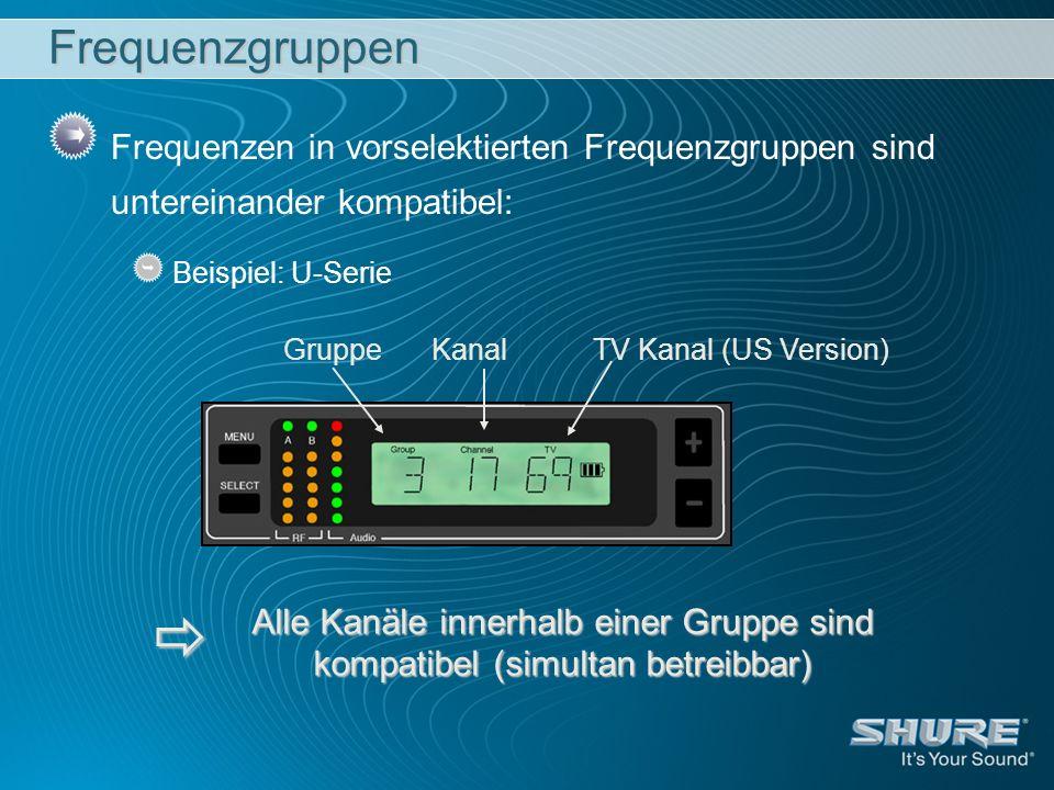 Frequenzgruppen Frequenzen in vorselektierten Frequenzgruppen sind untereinander kompatibel: Beispiel: U-Serie.