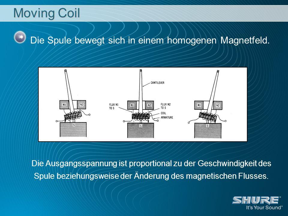 Moving Coil Die Spule bewegt sich in einem homogenen Magnetfeld.