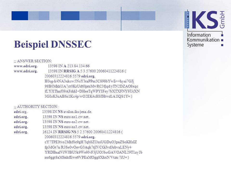 Beispiel DNSSEC ;; ANSWER SECTION: