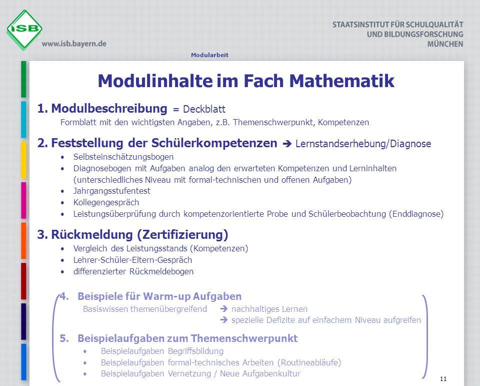 Modulinhalte im Fach Mathematik