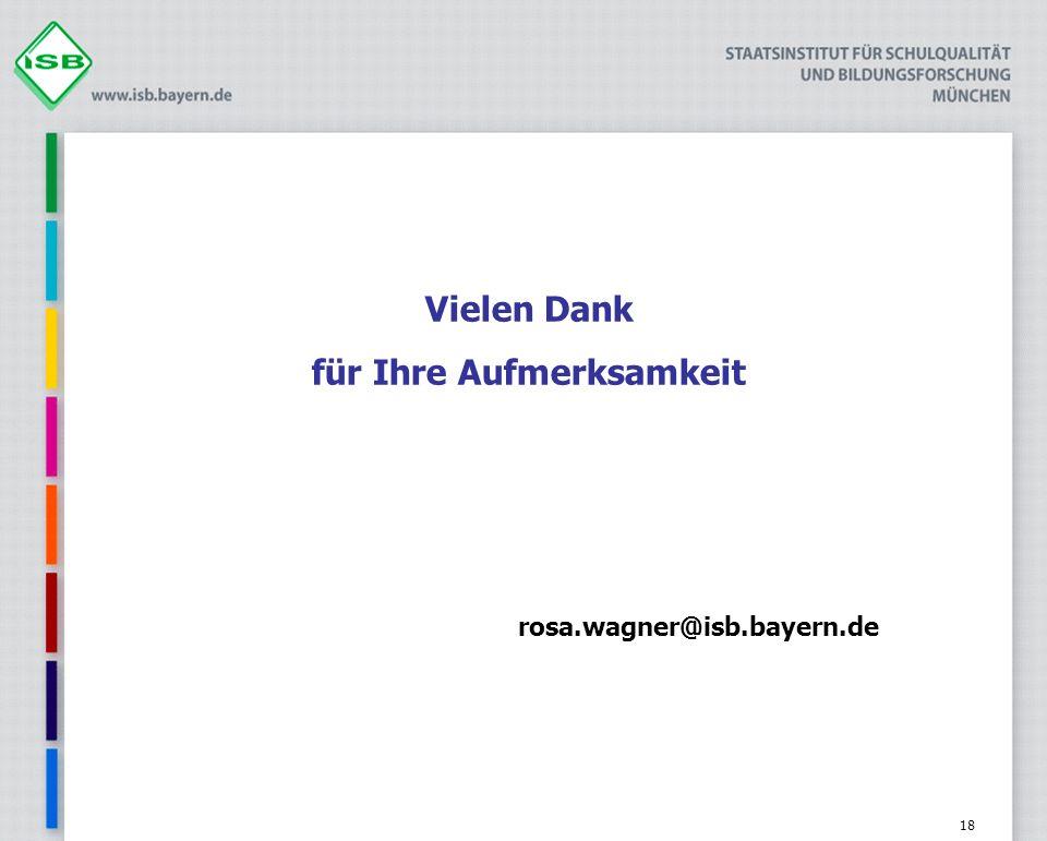 Vielen Dank für Ihre Aufmerksamkeit rosa.wagner@isb.bayern.de