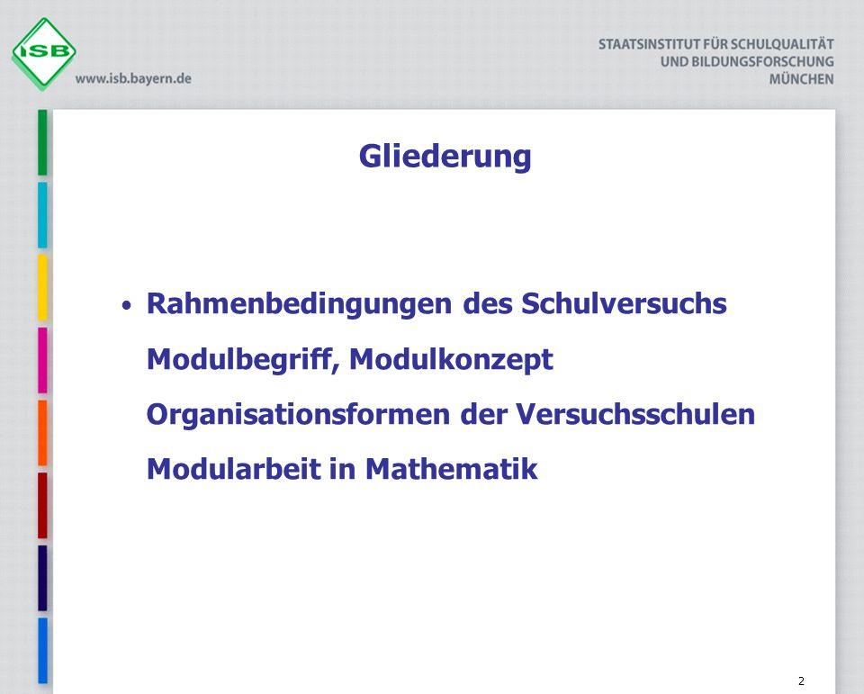 Gliederung Rahmenbedingungen des Schulversuchs Modulbegriff, Modulkonzept Organisationsformen der Versuchsschulen Modularbeit in Mathematik.