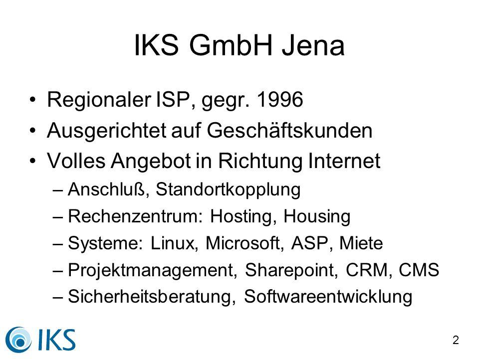 IKS GmbH Jena Regionaler ISP, gegr. 1996