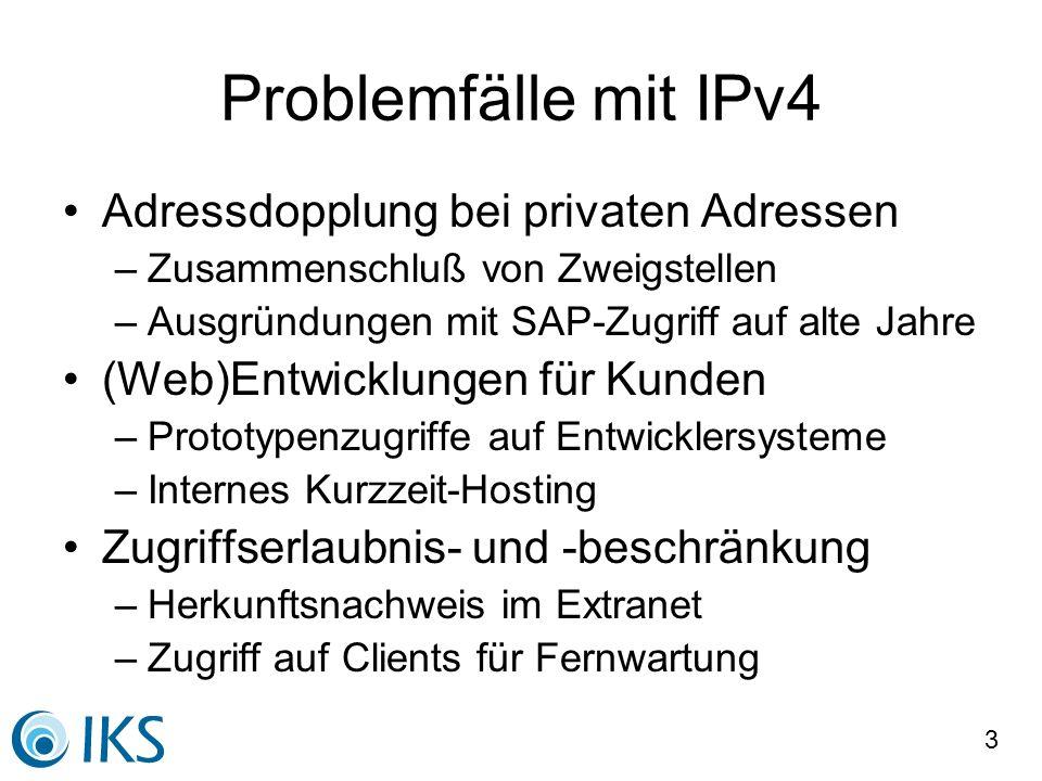 Problemfälle mit IPv4 Adressdopplung bei privaten Adressen