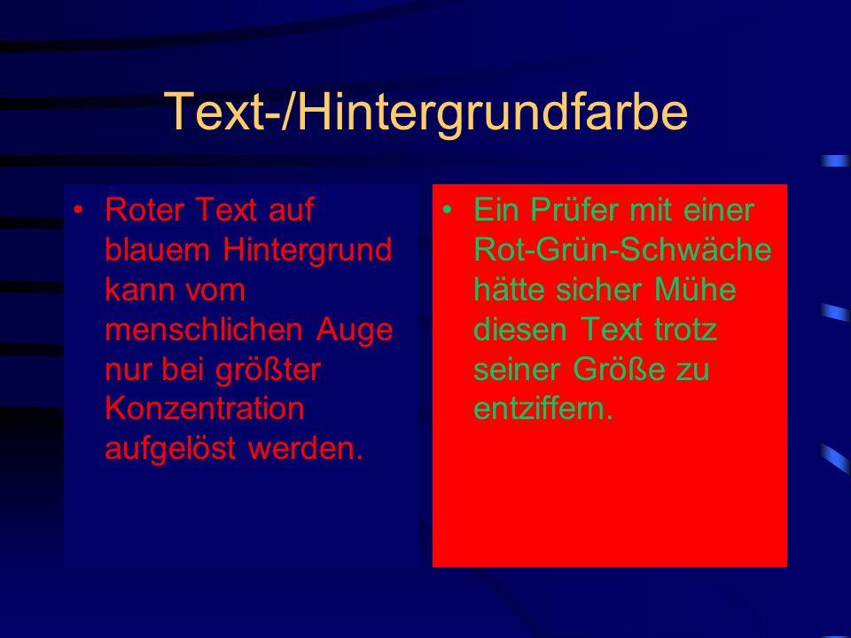 Text-/Hintergrundfarbe