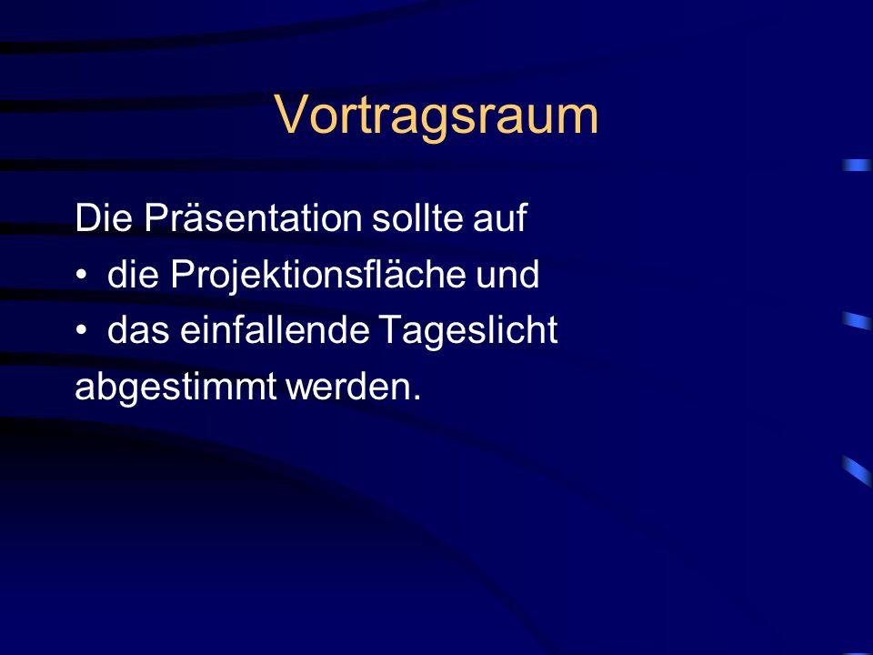 Vortragsraum Die Präsentation sollte auf die Projektionsfläche und