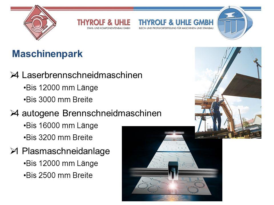Maschinenpark 4 Laserbrennschneidmaschinen
