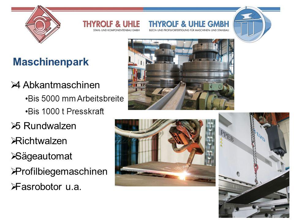 Maschinenpark 4 Abkantmaschinen 5 Rundwalzen Richtwalzen Sägeautomat